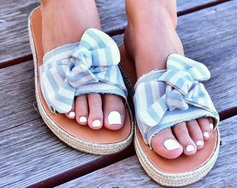 Light Blue Bow sandals
