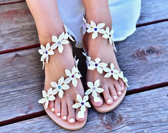"Wedding Sandals ""Bridal Bouquet"", Leather sandals, handmade sandals, Bridal sandals, Flat wedding sandals, Bridesmaids sandal, Greek sandals"