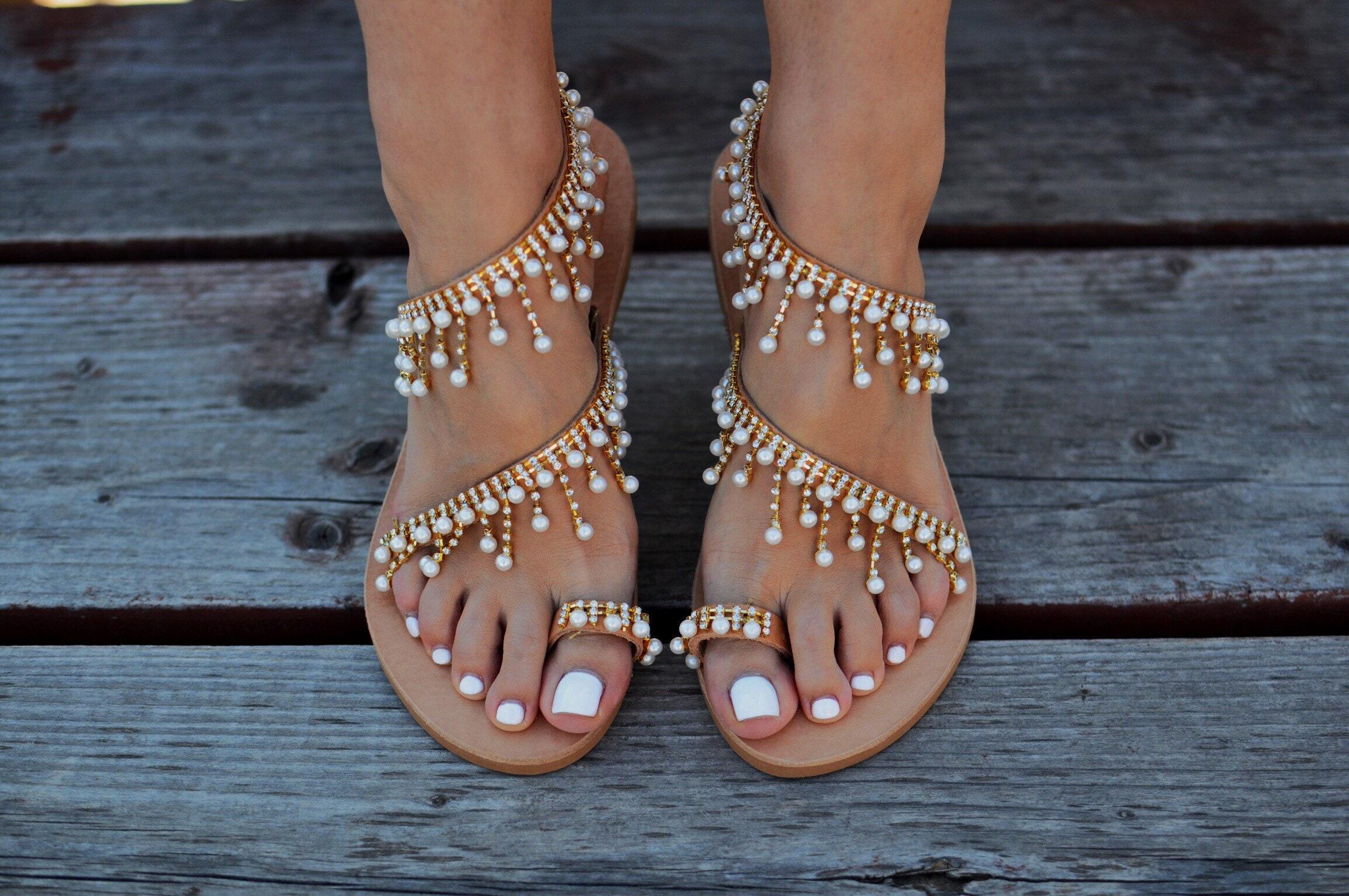 Greek sandals Caliope Pearl sandals Wedding