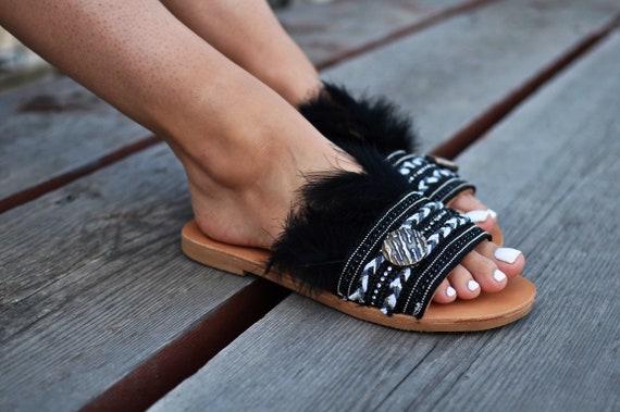 de nbsp;Penny noirs sandales sandales diapositives en Black plume Boho nbsp; sandales cuir Sandales sandales grecques SwEqBdOSp