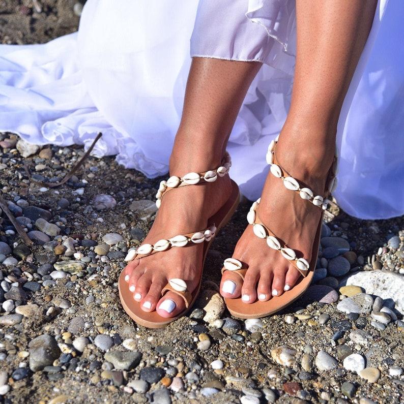 Wedding Sandals Leather sandals Bridal sandals Flat wedding image 0