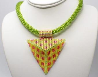 Beaded Necklace Triangle Pendant, Beaded Triangle Pendant, Seed Bead Necklace, Statement Necklace, Seed Bead Jewelry, Beadwork Pendant