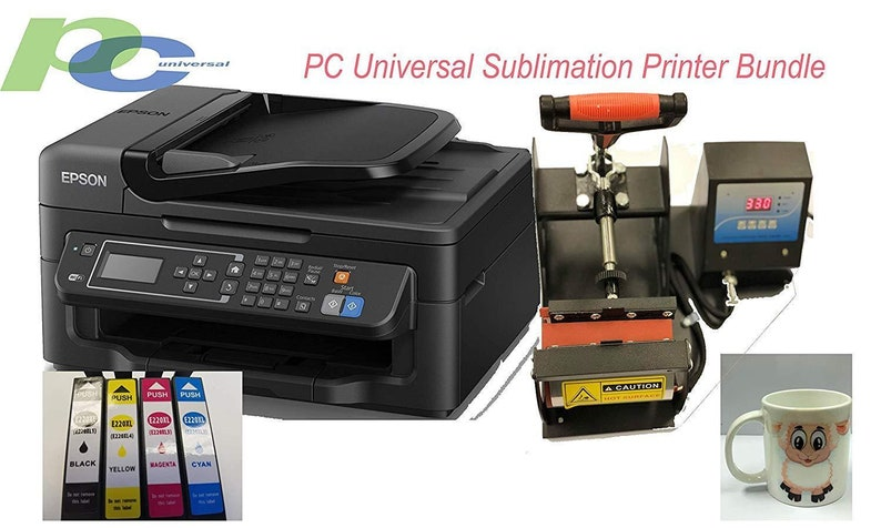 PC Universal Sublimation Bundle with Printer, Heat Press Machine & Assorted  Mugs---includes transfer paper,heat tape etc everything