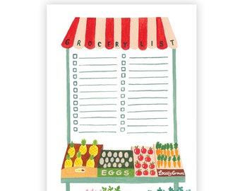 Farmer's Market List Notepad // Graduation Gift, Housewarming Gift, Stationery Notepad, Gift Under 15, New Home Gift, Gift for Foodie