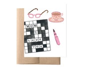 Mom Crossword Mother's Day Card // Card for Mother Mom, Crossword Puzzle for Mom, Illustrated Mom Card