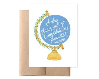Graduation Globe Card // Graduation Card, Graduation Gift, Mentor Appreciation, College Graduation, High School Grad