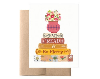 Eat, Read & Be Merry // Holiday Card, Literary Book Card, Thanksgiving Card, Christmas Card, Illustrated Card, Floral Book Card