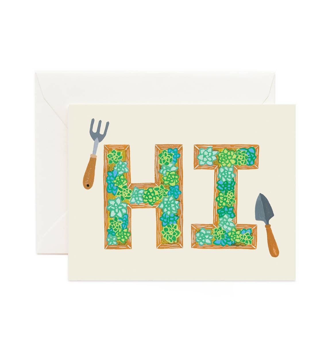 Hi Succulent Planter Boxes Hello Card Hi Card Hi Just Etsy
