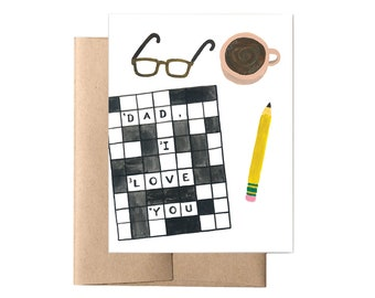 Dad Crossword Father's Day Card // Card for Dad, Dad Card, Funny Card for Dad, Dad Birthday Card, Happy Father's Day