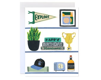 Handsome Shelfie // Birthday Card, Birthday Greeting Card for Him, Boyfriend, Husband