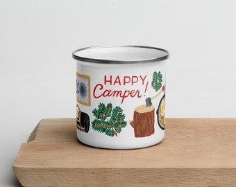 Happy Camper Illustrated 12oz Enamel Mug, Retro Camping Mug, Campfire Travel Gift
