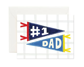 Number 1 Dad Father's Day Card // Gift for Dad, Hip Dad, Thank You Dad, #1 Dad, Happy Birthday Dad Card, Best Dad