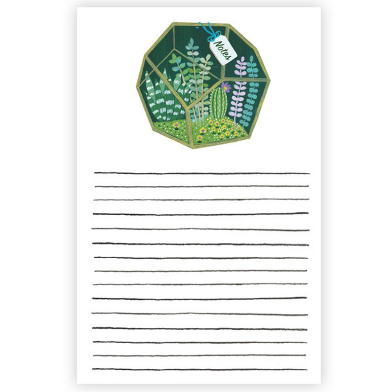 Desk Accessories Geometric Terrarium Notepad  Father/'s Day Gift Stationery Teacher Gifts Gift Under 15 Daily Planner Plant Notepad