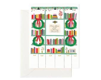 Literary Christmas // Christmas Card, Holiday Card, Bookshelf Literary Card