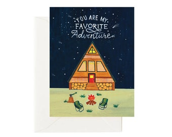 You Are My Favorite Adventure Birthday/Anniversary Card, Love Quote Card for Partner, Travel Camping Card for Him