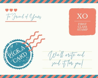 Card Writing Service // Let us write and mail a card for you, handwritten letter writing service and postage, USA only