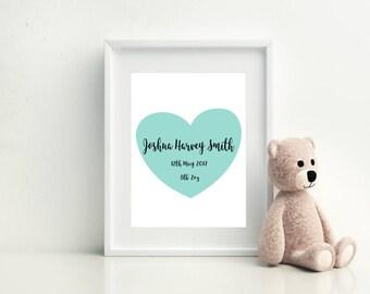 Personalised baby print, Personalised New Baby Print, New Baby Print, Baby Shower Gift, Baby Present, New Baby Gift, New Baby Present