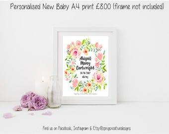 Personalised baby print, Personalised Nursery Print, Baby Print, Baby Shower Gift, Baby Present, New Baby Print, Floral wreath new baby