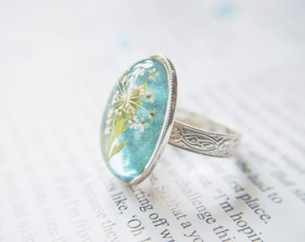 Real Flower Ring Ice Blue Eco Resin Statement Jewelry for Wedding and Celebration - Pressed flower Botanical Art Nature Inspired
