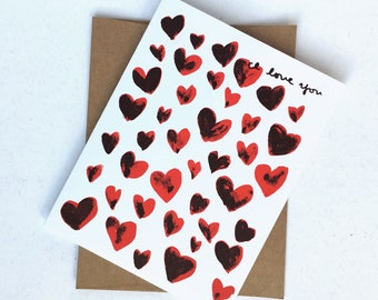 I Love You With All of My Hearts Valentine's Card Screen Print