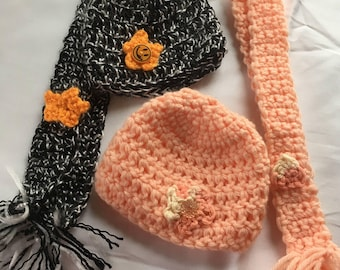 "Handmade Hat/Scarf Accessory Set for American Girl & other 18"" dolls ""Nothing Wasted"" Eco Friendly OOAK Great Gift Buy 3 Get 1 FREE!"