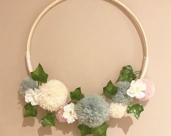 Pom Pom Wreath Wall Hanging Decoration