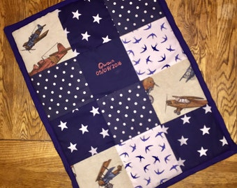 Personalised Patchwork Throw - 60cm x 45cm (Car seat/Moses basket size)