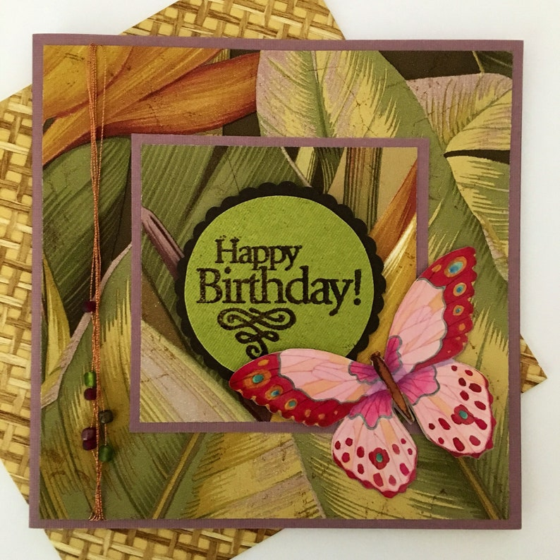 Birthday card handmade hand stamped Jungle leaves bamboo weave image 0