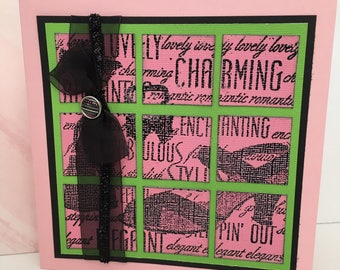 Charming Styling Pink Green Black Girlfriend Handmade Birthday Card