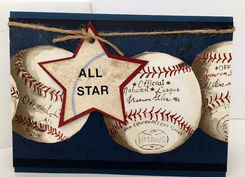 All Star Softball Baseball Birthday Handmade Card image 0