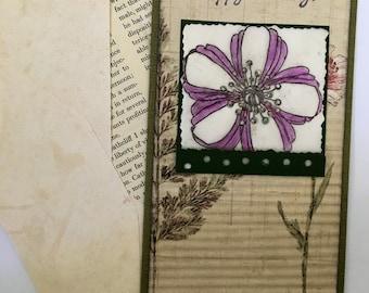 Artistic floral vintage paper birthday card