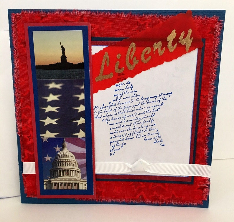 Patriotic Liberty Red White Blue Handmade Greeting Card image 0