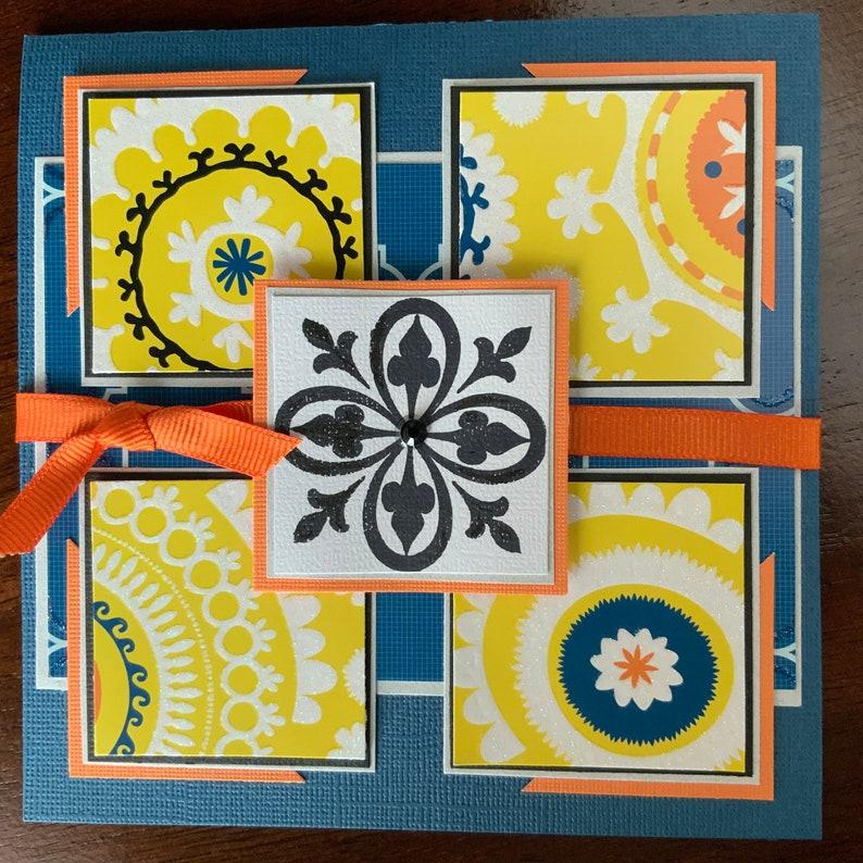 Blue yellow orange handmade card any occasion birthday image 0
