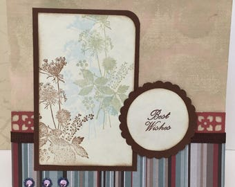 Birthday Handmade Card, rose mauve brown blue, best wishes card
