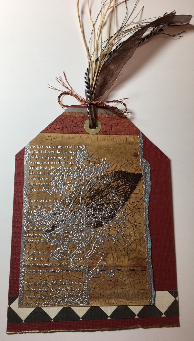Birthday handmade art card leaves nature silver rust red tag image 0