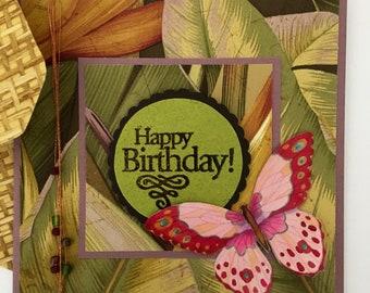 Jungle leaves bamboo weave butterfly vintage wallpaper guys girls handmade birthday card