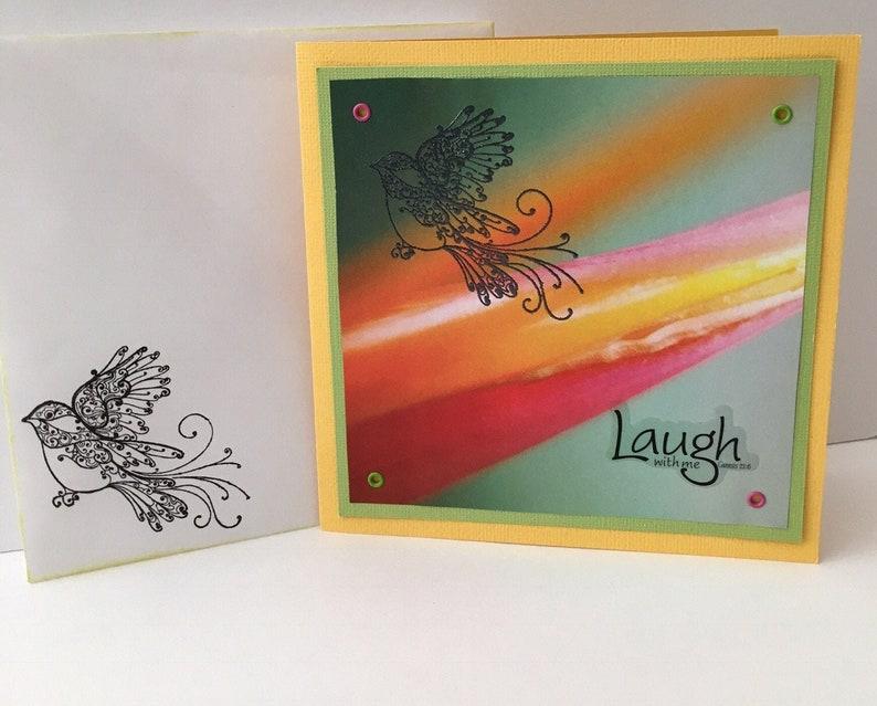 Thinking of You and Bird Rainbow Yellow Handmade Card image 0