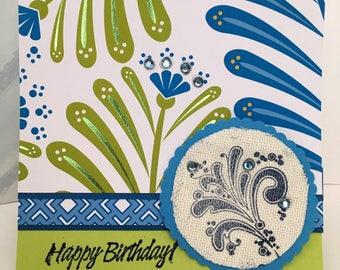 Birthday Gems Green n Blue Stamped Fabric Handmade Card