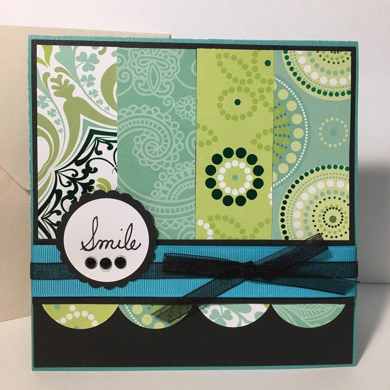 Aqua green and black any occasion Smile handmade card image 0