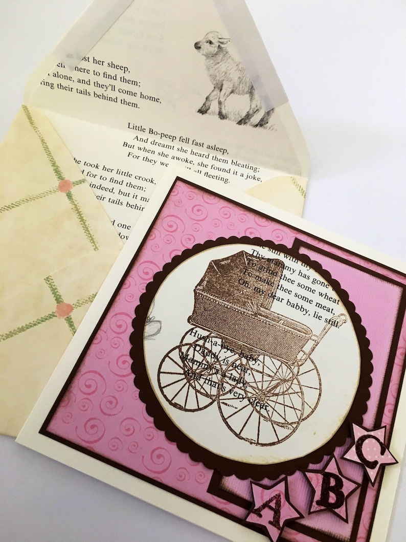 Baby Handmade Card Baby Buggy Pram Pink Congratulations image 0