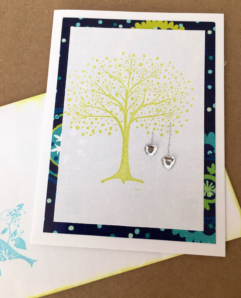 Anniverary handmade card silver hearts blue green love bird image 0