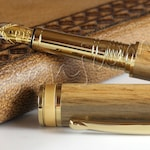 Two shakespeare Oak custom engraved oak pens with Bock Bimetal Nibs - with certificates of authenticity