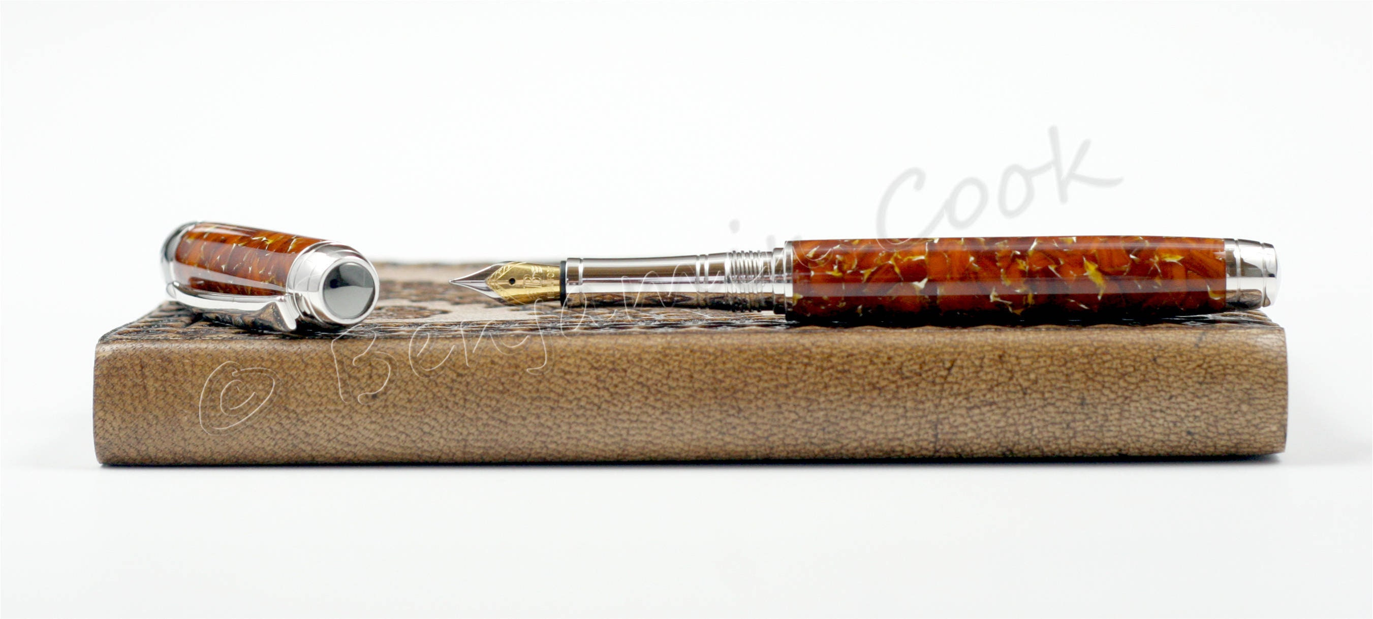 Engravable - Handmade Conway Stewart Amber Fountain Pen - Beaufort 23K Gold  plated Nib - 15 coat polish finish