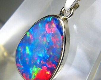 Neon GALAXY Andamooka Opal inlay on black Solid Sterling Silver pendant 282