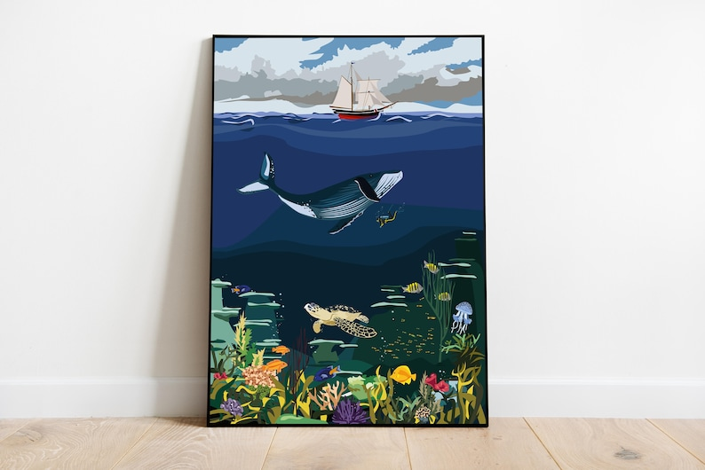 Art Print  Illustration Sea Ocean Deep Sea Wal image 0