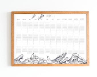 Calendar - Birthday calendar - Annual calendar - Perpetual - maritime - ocean - whale - ship - jellyfish - octopus - wave