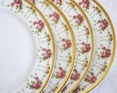 Limoges T V SALAD PLATES - Antique French Porcelain Circa 1907-1919 France - Pink Roses Floral Swag Gold Trim - Set of 4 - Dessert Tea Party