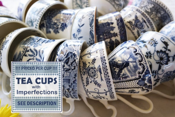 Blue White CUPS /& SAUCERS wIMPERFECTIONS Vintage Tea Party Favors Cottage Shabby Chic Decor Mix Priced Per Piece!!! Damaged China