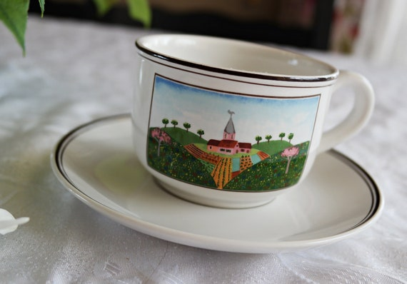 Villeroy Boch Cup Saucer Set Design Naif Pattern Country Etsy