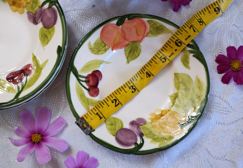 Set of 4 Side Tea Party Plates Grapes Plums Cherries Peaches Vintage China Franciscan BREAD /& BUTTER PLATES Fresh Fruit Pattern